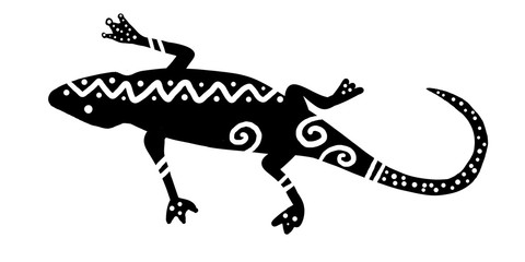 tribal lizard design with bold modern stripes, dots and wavy lines, tropical gecko or salamander