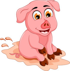 funny pig cartoon sitting in mud puddle
