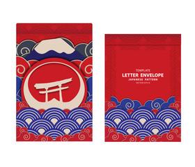 letter envelope template Japanese pattern design vector EPS10