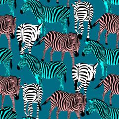 Colorful zebra seamless pattern. Savannah Animal ornament. Wild animal texture. Striped black and colors. design trendy fabric texture, vector illustration.