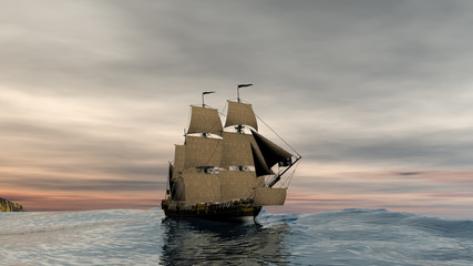 Galleon on high sea onder a sunset 3d rendering