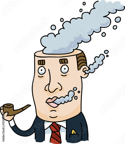 Quot A Cartoon Businessman Smoking A Pipe With Smoke Coming