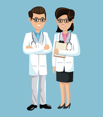 woman and man doctor medical employees clinic vector illustration eps 10