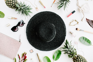 Summer casual style. Modern woman clothes and accessories collage. Hat, sunglasses, purse, lipstick and pineapples. Flat lay, top view