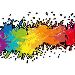 colorful paint splash over white background. vector illustration