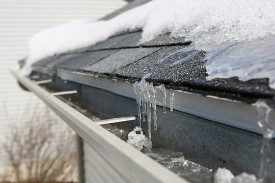 Ice on roof and gutters