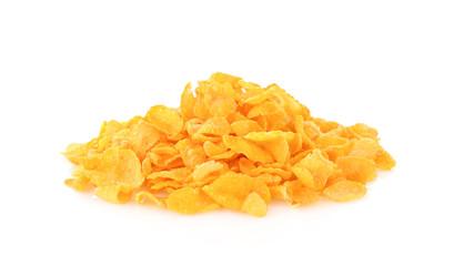 Corn flakes on a white background