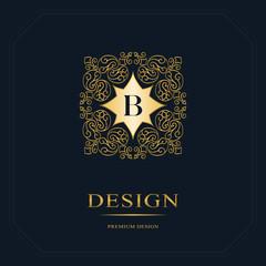 Monogram design elements, graceful template. Calligraphic elegant line art logo design. Letter emblem sign B for Royalty, business card, Boutique, Hotel, Heraldic, Jewelry. Vector illustration