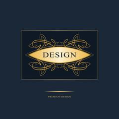Monogram design elements, graceful template. Calligraphic elegant line art logo design. Gold Emblem sign for Royalty, business card, Boutique, Hotel, Heraldic, Jewelry. Vector illustration