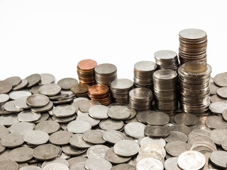 Coin stack (Baht) in white background
