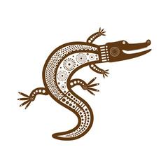 Коричневое графическое стилизованное изолированное изображение крокодила в племенном стиле.