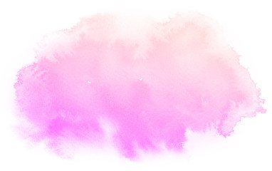 Abstract pink watercolor on white background.The color splashing on the paper.It is a hand drawn.