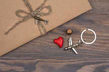 Letter of love in kraft envelope. Valentine's Day