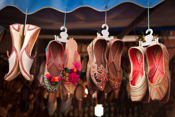 Colorful Shoes In An Indian Bazar