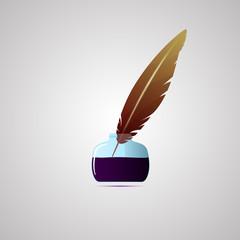 Векторная иллюстрация иконка простой символ плоский для веб Ink набор чернильница перо