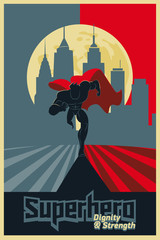 Superhero running in front of a urban background. Poster red & b