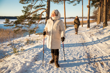Winter sport in Finland - nordic walking. Senior woman and man hiking in cold forest. Active people outdoors. Scenic peaceful Finnish landscape. Wall mural