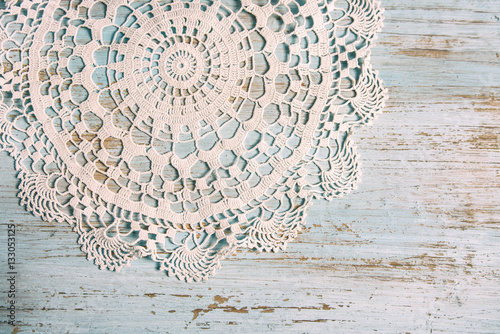 Shabby Chic Background For Wedding Valentines Day Or Mother With Vintage Lace On Old