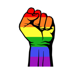 Fight for gay LGBT rights rainbow fist white background