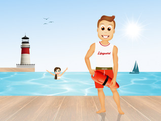 lifeguard on pier