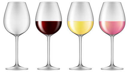 Wine glasses - empty, red wine, white wine and rose wine. Vector illustration.