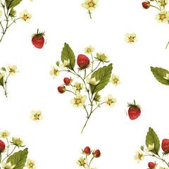 Watercolor strawberries fruit seamless pattern.