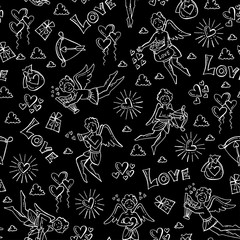 Pattern with hand drawn isolated symbols of Valentine's Day on black color. Pattern on the theme of love