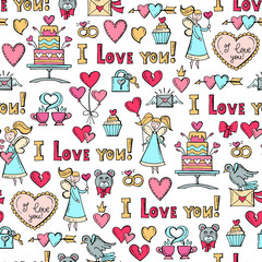 Vector pattern with hand drawn colored symbols of Valentine's Day on white background. Pattern on the theme of love