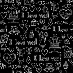 Vector pattern with hand drawn isolated symbols of Valentine's Day on black background. Pattern on the theme of love