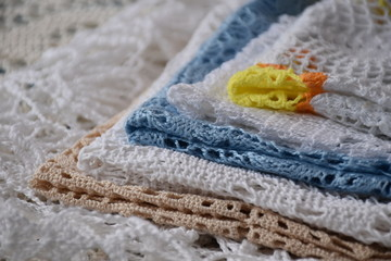 composition of knitted crochet handmade