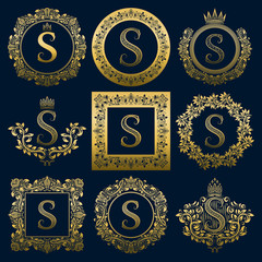 Vintage monograms set of S letter. Golden heraldic logos in wreaths, round and square frames.