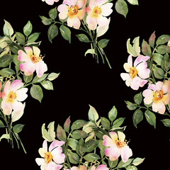 White roses bush in blossom watercolor seamless pattern
