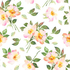 Abstract pink roses flower watercolor seamless pattern