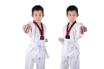 Asian Taekwondo boy posting on white background