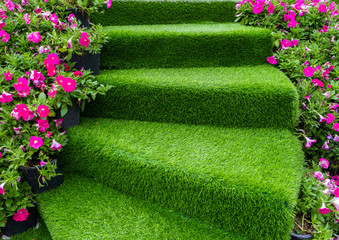 Wall Mural - staircase green artificial grass