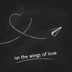 Vector paper plane with heart track on black chalkboard background. Concept for Valentines day design.