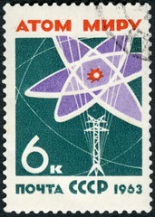 USSR - 1963: shows Atom diagram and power line