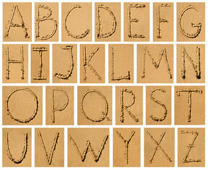 set of sandy bright alphabet