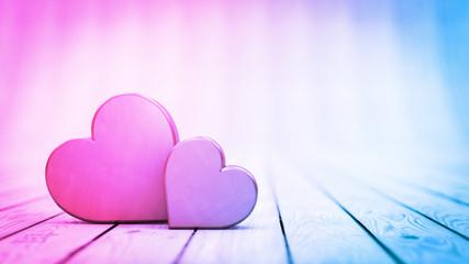 Zwei Herzen: Motiv zur Hochzeit - Konzept Liebe, Heiraten oder Valentinstag