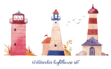 Watercolor lighthouse set. Hand drawn cartoon lighthouses with cute details: plants, flags, sea gull. Isolated design objects on white background. Nautical artwork