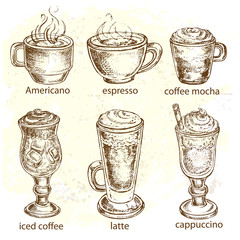 hand drawn set types of coffee