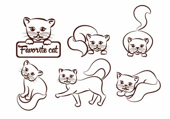 Set of cats and kittens in various poses in a graphic