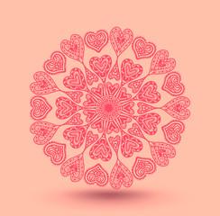 Heart circle mandala style. Vector illustration.