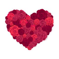Rose Heart Isolated on White Background.