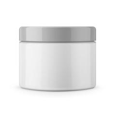 Round white glossy plastic jar for cosmetics