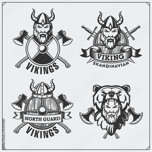 Set of viking labels, badges and emblems. Horned helmet, warrior ...