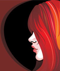 The girl with red hair on a black background