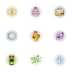 Marriage icons set, pop-art style