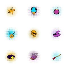 Magic icons set, pop-art style