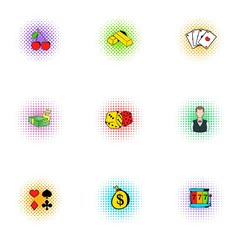 Casino game icons set, pop-art style